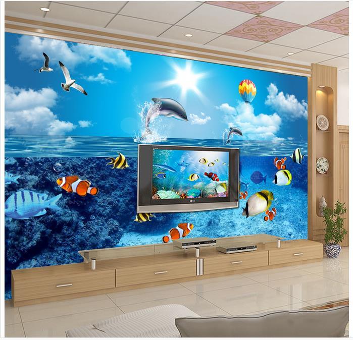 3D настенные фрески обои на заказ Картина Настенная бумага HD подводный мир Дельфин ТВ фон для спальни настенный Декор