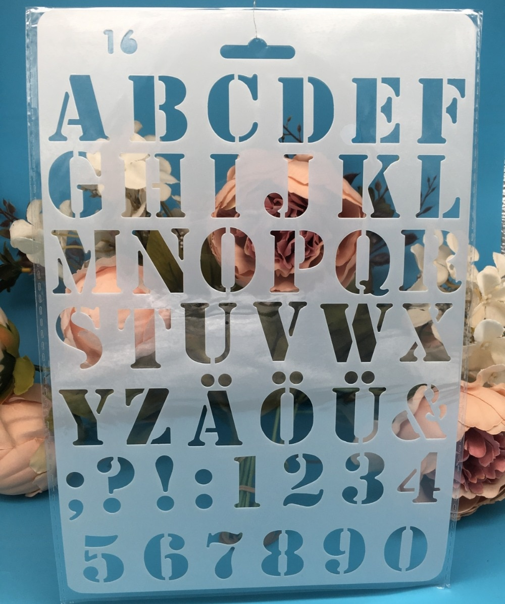 27cm New Alphabet Letters 4 DIY Craft Layering Stencils Painting Scrapbooking Stamping Embossing Album Paper Card Template