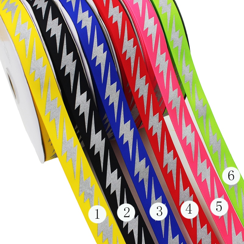 "[IuBuFiGo] 1"" 25mm Warning Reflective Ribbon Grosgrain DIY Hair Bow Ribbon For Decoration Tape 10yard/lot"