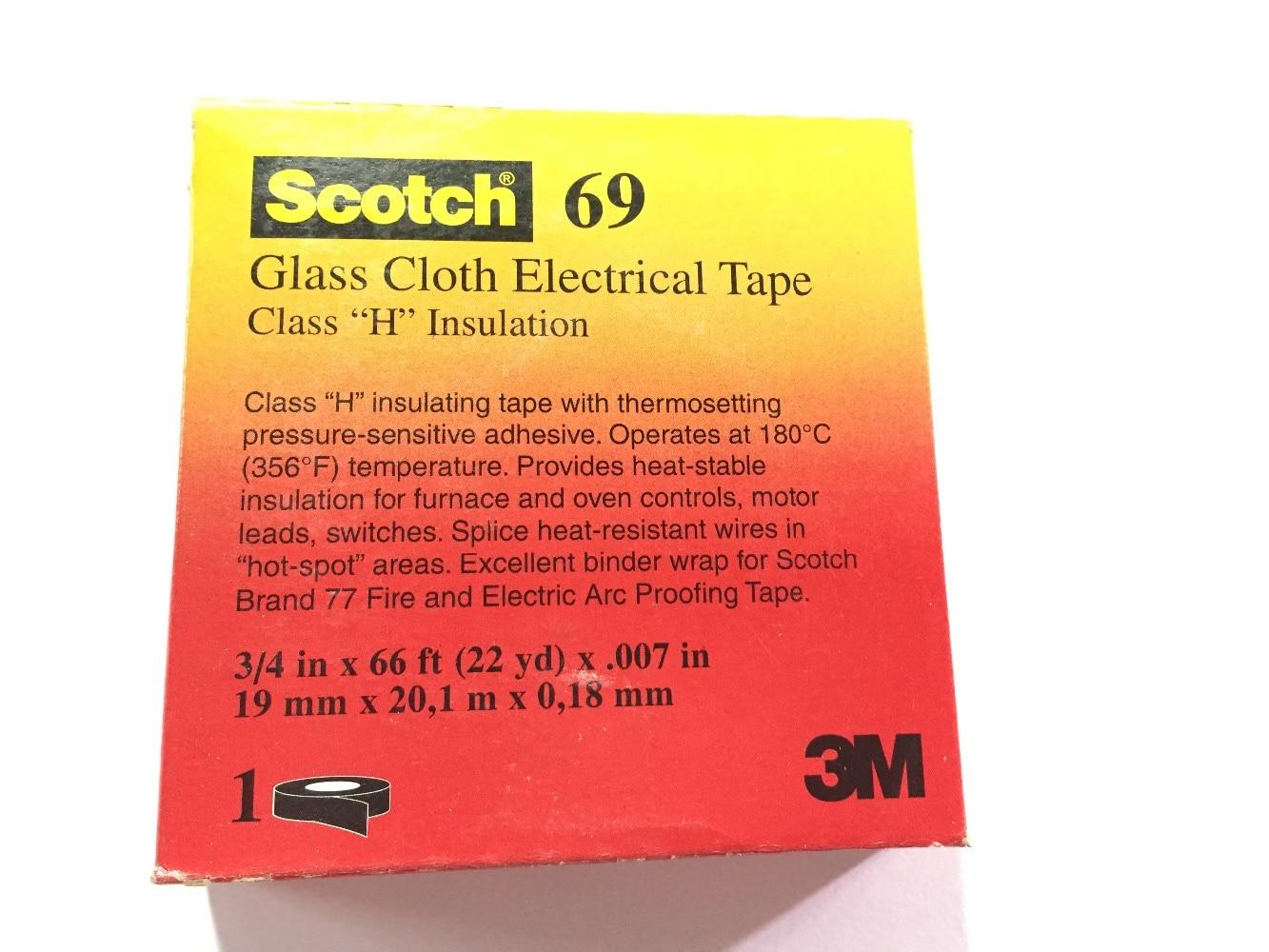 3M скотч стеклянная ткань электрическая лента 69 для высокой температуры белый, силиконовый клей, 3/4 дюйма x 22YD/рулон
