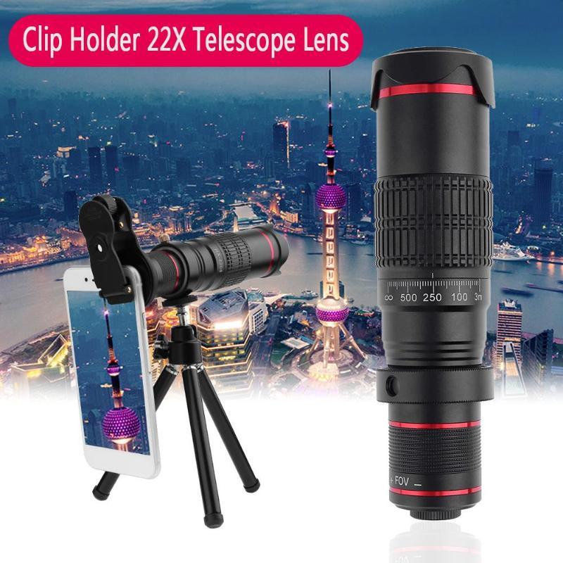 El más nuevo trípode doble regulación HD escala distancia FOV 22X telefoto Zoom Cámara teléfono lente para iPhone X/8/7/7 Plus/6s/6/5 SE