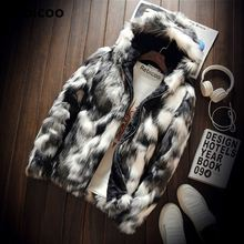 Hiver mode manteau de fourrure hommes vêtements épais fausse fourrure veste à fermeture éclair à capuche hommes vestes à capuche manteaux homme chaud vêtements surdimensionné