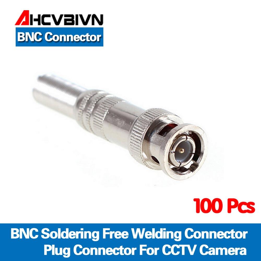 AHCVBIVN 100 шт./лот BNC разъем для RG-59 Coaxical кабель, латунный конец, обжимной, стяжка кабеля, CCTV камера BNC разъем