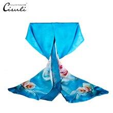 CISULI-Foulard en soie Pure bleu   Foulard Femme à Rose imprimé, 52X170cm, Hijab, 100%