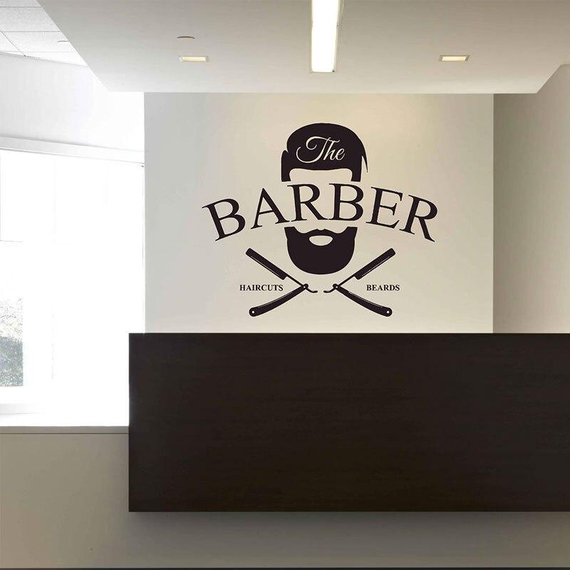 Barbería de la pared de La etiqueta engomada vinilo ventana calcomanías barberos cara pelo salón Mural papel cortes de pelo barba papel A148