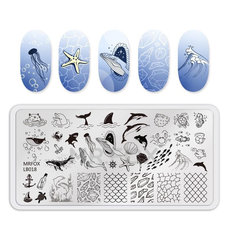 1PCS Blue Ocean Animal Nail Art Stamping Plates Fish Image Stencils for Nails Stamp Tools Manicure Template недорого
