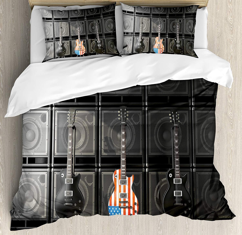 Conjunto de funda nórdica con bandera americana, bajo negro y estadounidense, guitarra electrónica, música Rock, tema, decoración Digital gráfica para el trabajo, juego de cama de 3/4 Uds