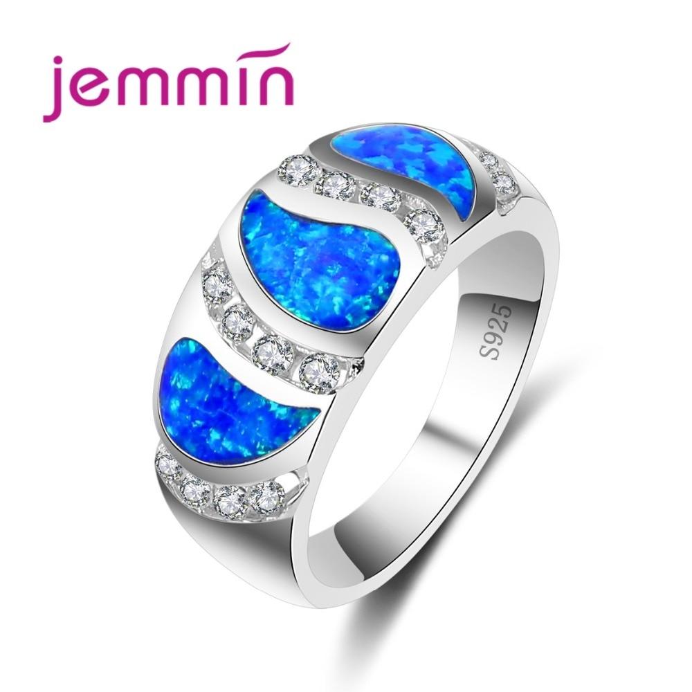 Venda quente 925 prata esterlina feminino meninas jóias único bule radiante opala anel banda para casamento nupcial decorar