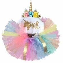 Bebê 1 ano conjuntos de aniversário da criança unicorn festa vestido outfits conjunto infantil batismo ternos para a menina do bebê tutu crianças roupas