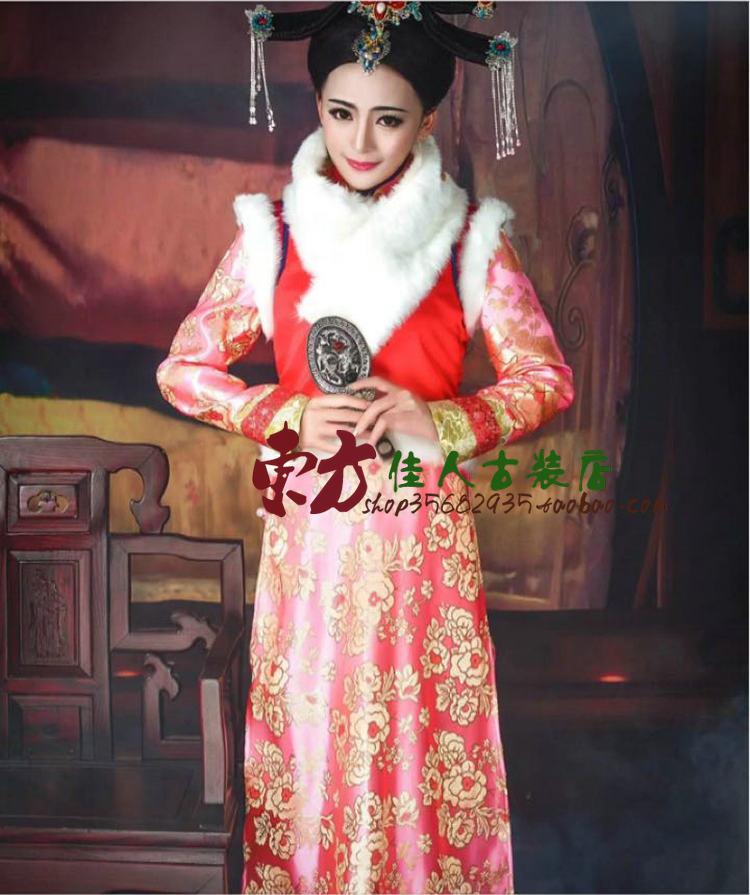 Tv لعب أسطورة دا يو ايه تشينغ الأميرة الوردي التطريز qizhuang زي ملابس الشتاء مع فرو طوق المرأة تأثيري