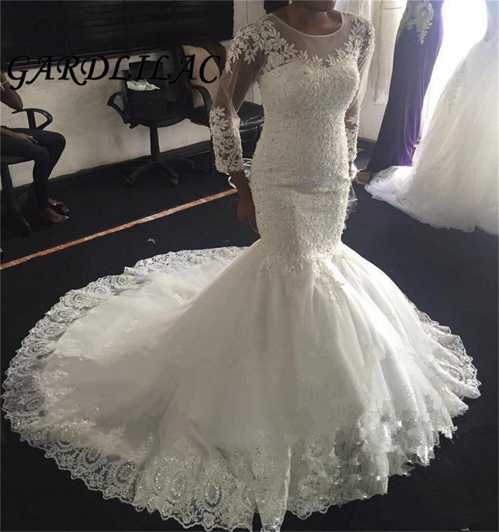 2019 Illusion Long Sleeves Lace Mermaid Wedding Dresses Trumpet Vestido De Noiva Gowns Bridal Dress Robe Soiree