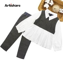 여자 옷 패치 워크 블라우스 여자 학교 의류 세트 셔츠 + 스트라이프 바지 2PCS 아동 의류 세트 6 8 10 12 13 14 년
