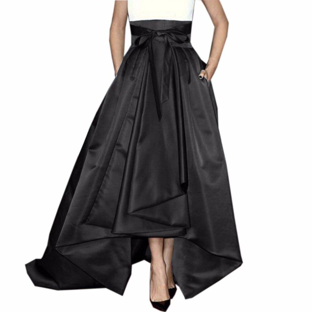 Falda larga Retro alta baja para mujer para fiesta con bolsillos cremallera cinta faja lazo mujer adulto falda de satén Maix Pleat Saia