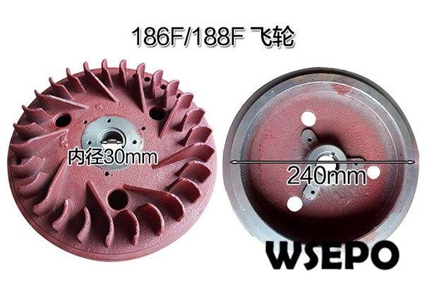 أعلى جودة! دولاب الموازنة لمحرك الديزل 186F 188F 192F 9HP ~ 12HP تبريد الهواء 04 السكتة الدماغية ، قطع غيار المولدات 5KW ~ 6KW