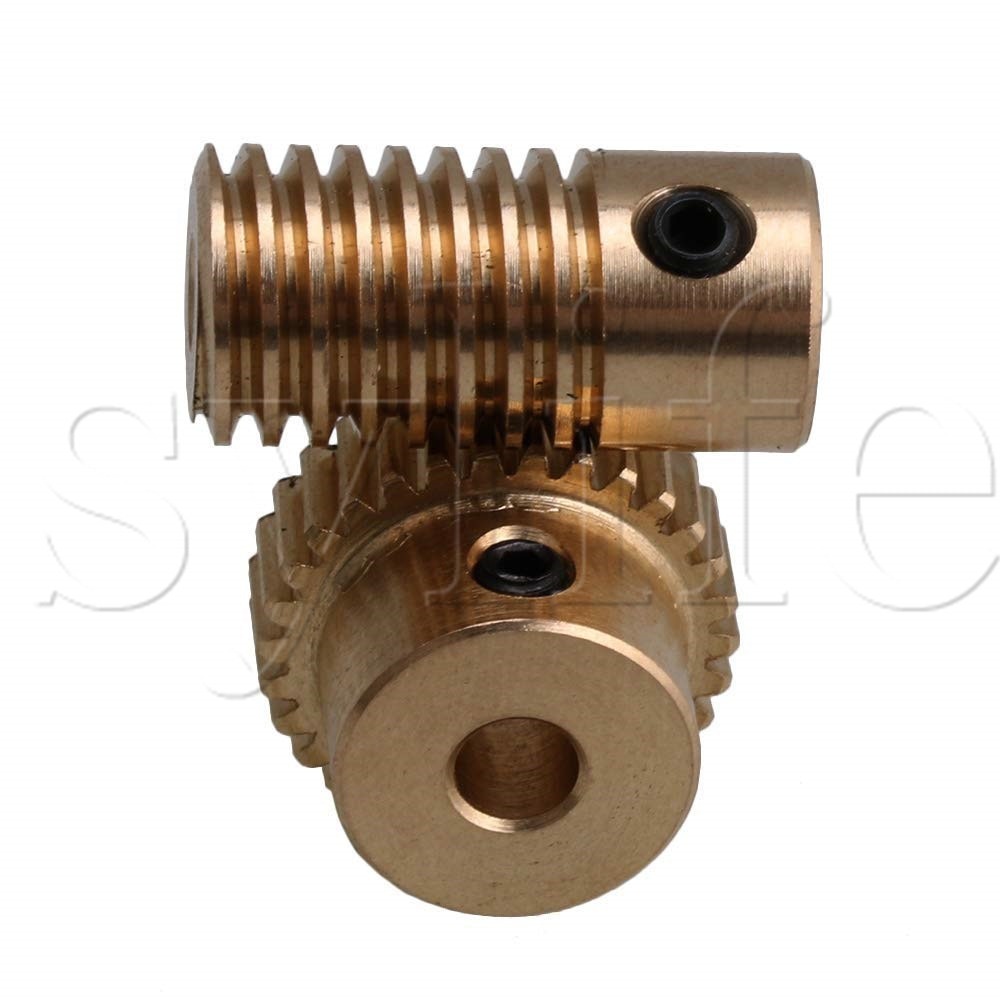 0.5 Modulus Brass Metal 3mm Hole Gear Shaft and 30 Teeth Worm Wheel Worm Gear Set