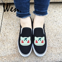 Wen diseño al aire libre Slip On Shoes Anime Bulbasaur Pokemon Series negro blanco 2 colores Unisex zapatillas de lona