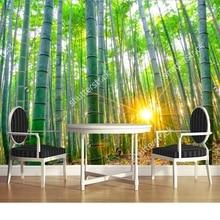 Personalizado papel de parede paisagem natural. floresta De Bambu com ensolarado, foto para sala de estar quarto restaurante fundo da parede de papel de parede