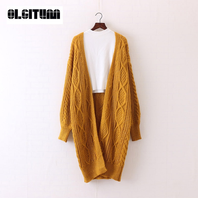 2020 OLGITUM New Women Long Cardigans Autumn Winter Open Stitch Knitting Sweater Cardigans V neck Oversize Cardigan Coat SW707