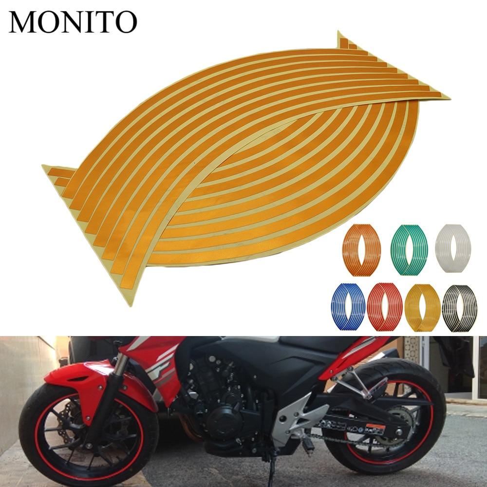 "Hot Motorcycle Wheel Sticker 16"" 17"" 18"" Reflective Decals Rim Tape Strip For Honda PCX 125 150 KAWASAKI Versys 650 KLZ1000 Z400"