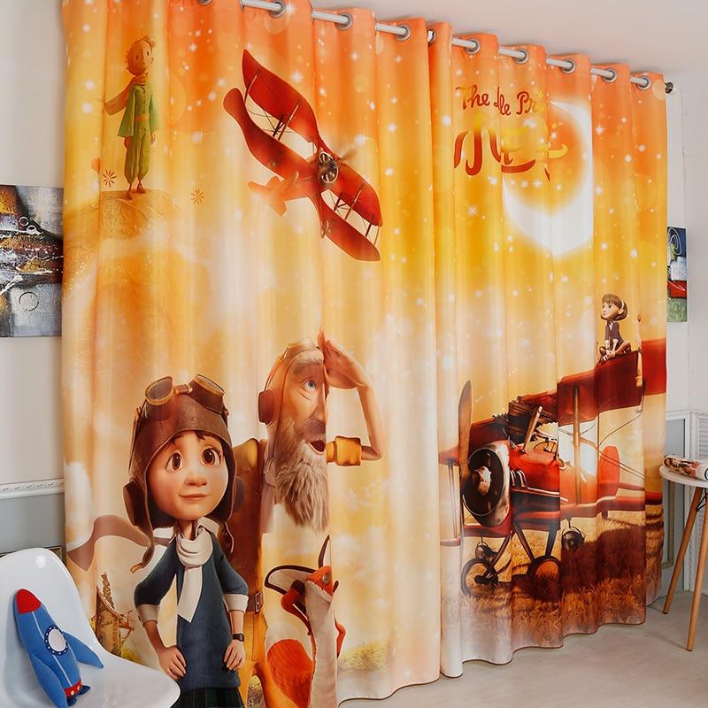 Cortinas para sala de estar, dormitorio, cuarto de niños, ventana de tul transparente, Pequeño Príncipe Luna naranja