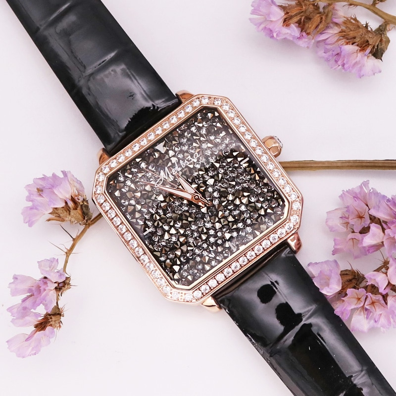 Melissa Lady Women's Watch Big Hours Fine Fashion Jewelry Clock Leather Bracelet Luxury Brand Girl Rhinestones Birthday Gift Box