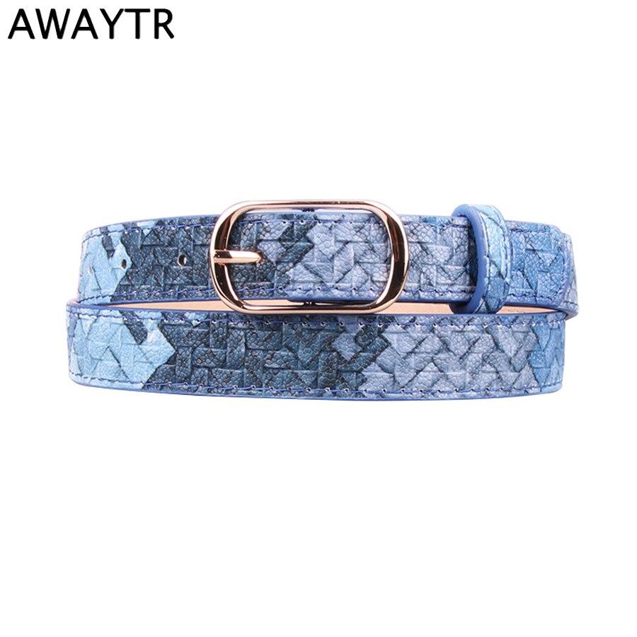 AWAYTR Fashion Simple Belt Imitation Woven Pattern Elegant Ladies Belt for Women Square Buckle PU Leather Belt for Girls