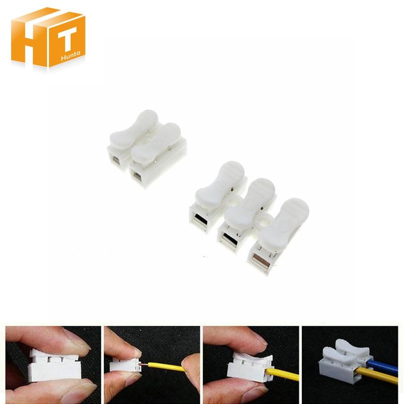 Connecteur à ressort 2pin / 3pin   Fil facile à installer, ne nécessite pas de soudure 5 pièces/lot