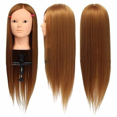Cabeza de peluquería CAMMITEVER 20 pulgadas maniquí de cabeza de maquillaje de práctica dorada