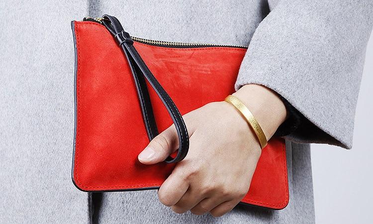Bolso de mano de cuero genuino para mujer, cartera ultradelgada, monederos de marca femenina