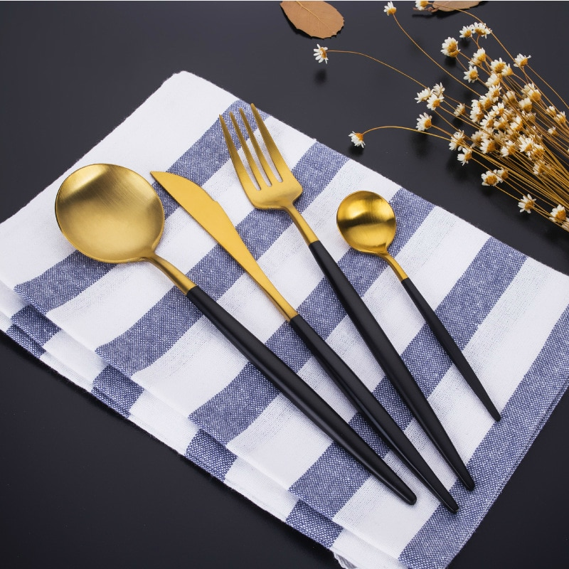 Kit de talheres românticos estilo ocidental, de metal, banhados a ouro, de portugal, faqueinóx
