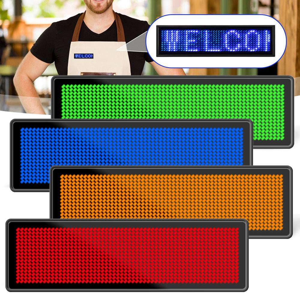 Mini LED Digital programable de 7 colores, desplazable, nombre, Mensaje, etiqueta, ajustable, 4 niveles, brillo, tarjeta de pecho