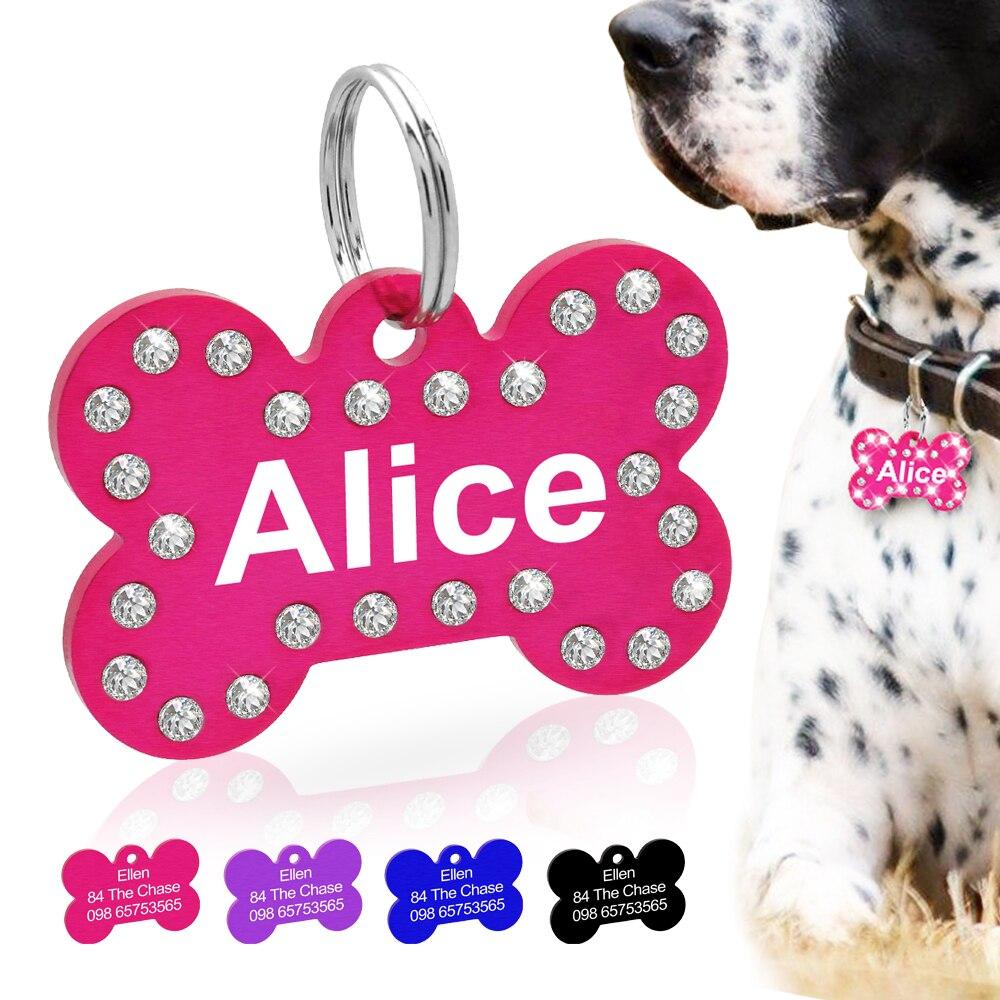Персонализированные кристалл собака ID тег, изготовленные на заказ Стразы форма кости Имя тег пластина аксессуары для собак ошейник украшения