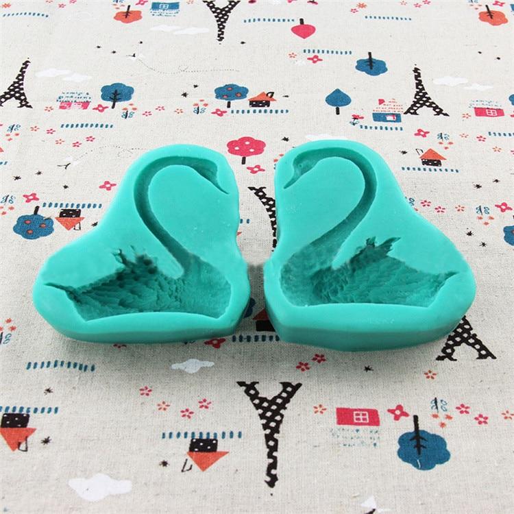 Изысканная пара силиконовая форма «Лебедь» помадка формы для глины 3D печенье плесень кухонные аксессуары SQ16102