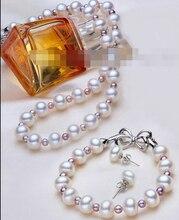 Encanto Jew.657 Establece Cultivadas AAA 7-8mm Blanco y púrpura 3mm Collar de Perlas Akoya Genuino caliente