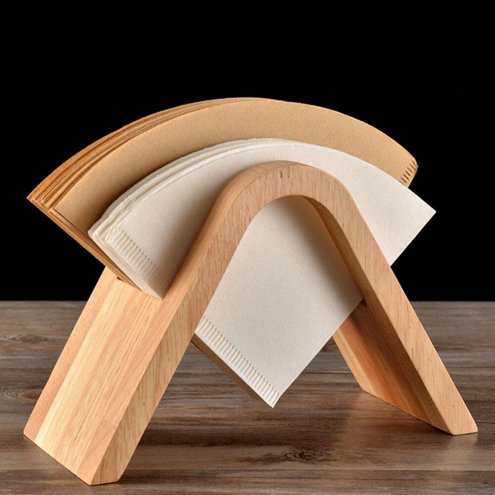 Suporte do filtro de café prateleira, suporte para filtro de papel v60 para armazenamento de papel máquina de café + 100 peças