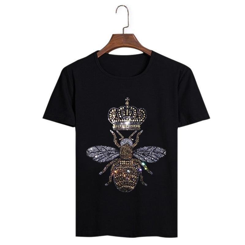 NOVEDAD DE VERANO 2020, camisetas masculinas casuales para hombre, camisetas con diseño de corona de abeja y diamante para hombre, camiseta moderna para hombre con diamantes de imitación en blanco y negro
