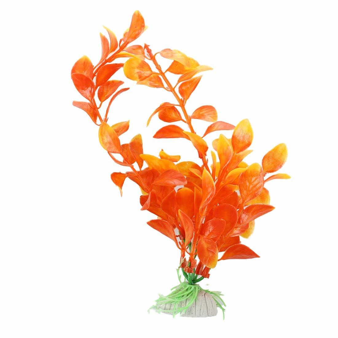 Orange Artificial Plant Plastic Aquarium Decoration