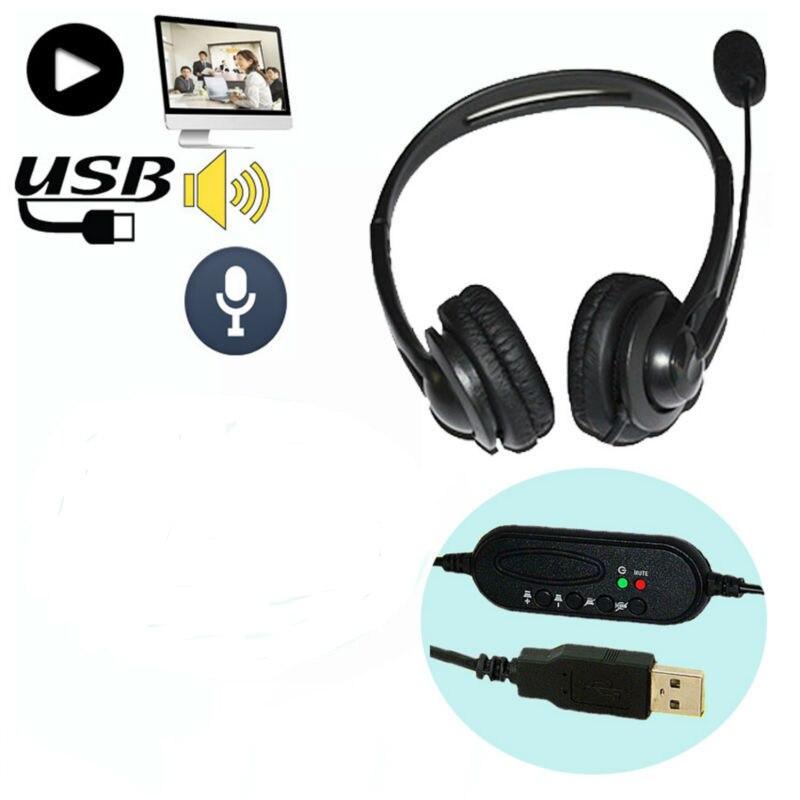 10 قطعة سماعة رأس ستيريو محيطة سماعة رأس USB 2.0 مع ميكروفون سماعة أذن للكمبيوتر لعبة سكايب