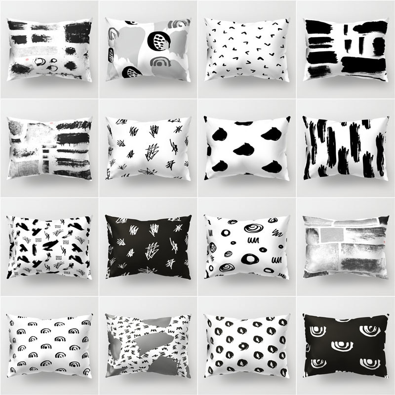 Negro geométrico café poliéster impreso funda de almohada rectangular sofá funda para cojín de zona lumbar silla de coche 50x30cm funda de almohada de cintura