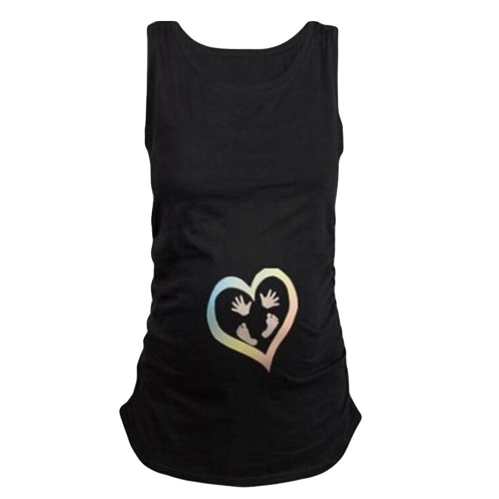 Pregnant Clothes Womens Sleeveless Blouse Footprint Print For Maternity T-Shirt Zwangerschaps Kleding Mothers Clothing Plus Size