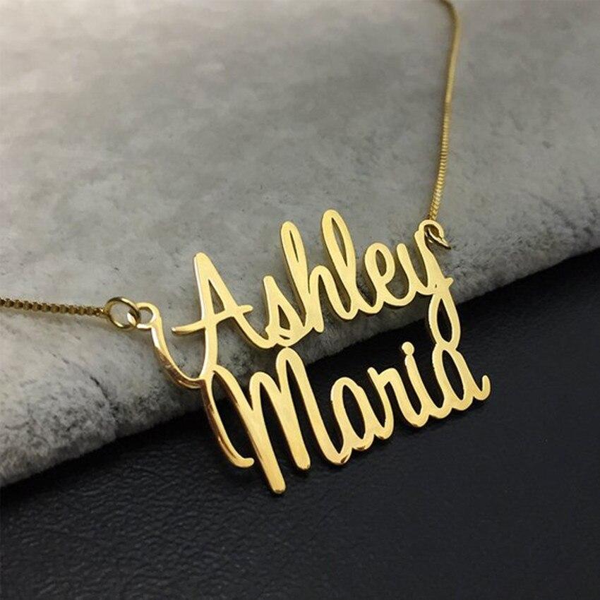 Двойное имя ожерелье розовое золото коробка цепь на заказ два имени чокер кулон ожерелья для женщин персонализированный подарок хип-хоп юв...