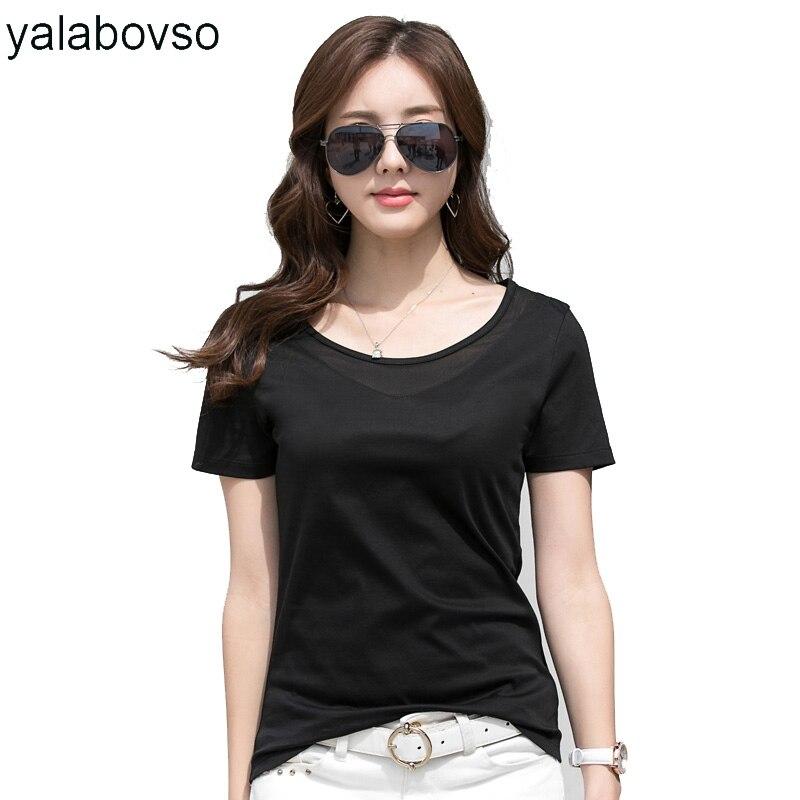 Algodão macio manga curta sexy o pescoço casual preto t camisa para a mulher legal magro verão camisetas 2020 verão topos yalabovso 8886z30