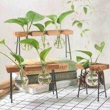 Glass Wood Vase Planter Flower Creative  Stand Terrarium Container Hydroponics Pot Tabletop Vase DIY Home Office Wedding Decor