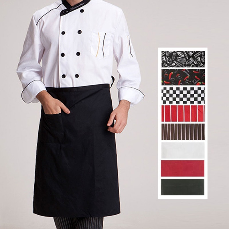 Delantales de cocina para Chef, delantal de trabajo de cocina de talle alto y medio largo, delantal de Catering para cocineros de Hotel, suministros esenciales para uniformes