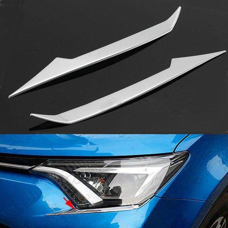 2 unids/set de moldura de párpado delantero de faro ABS cromado para Toyota RAV4 2016-2017