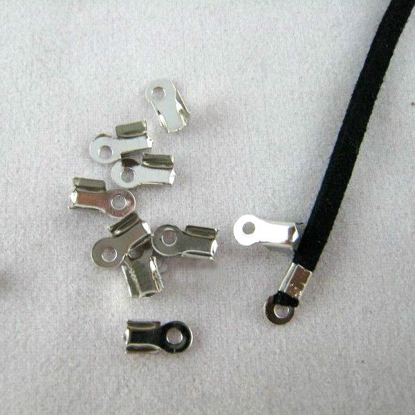 200 Uds 4x8mm tapas de los extremos del cordón de cuero cierres de extremo engarce plata/oro/KC oro/plata opaca/arma negro conectores para la fabricación de joyas
