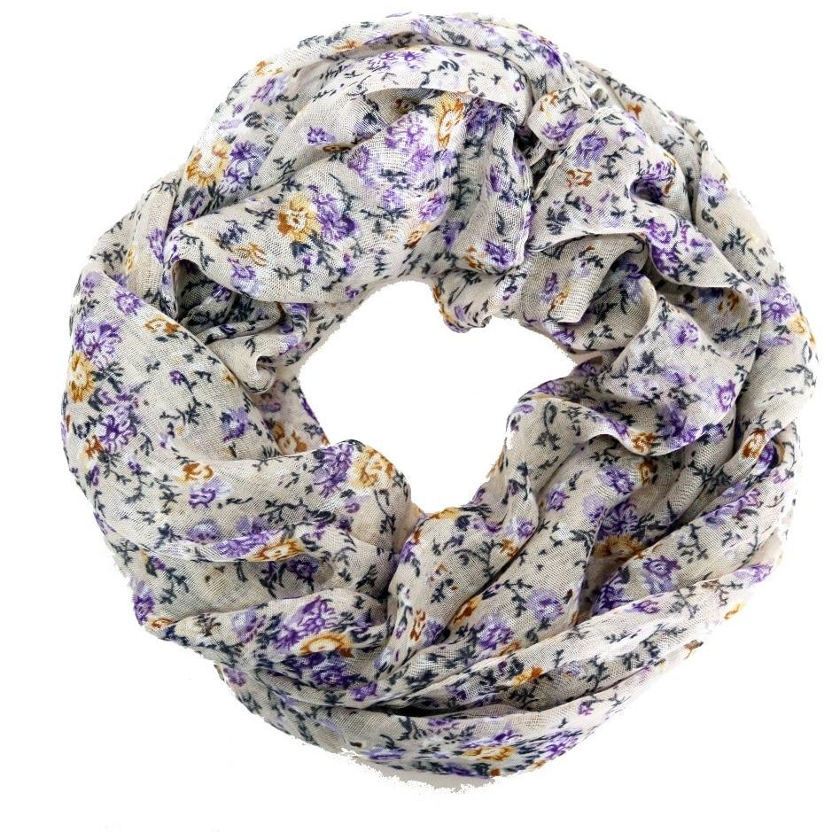 2018 Fashion Woman Scarf Bohemian Small Purple Floral Polyester Ring Warm Jacquard Women Scarves 180*60 Cm