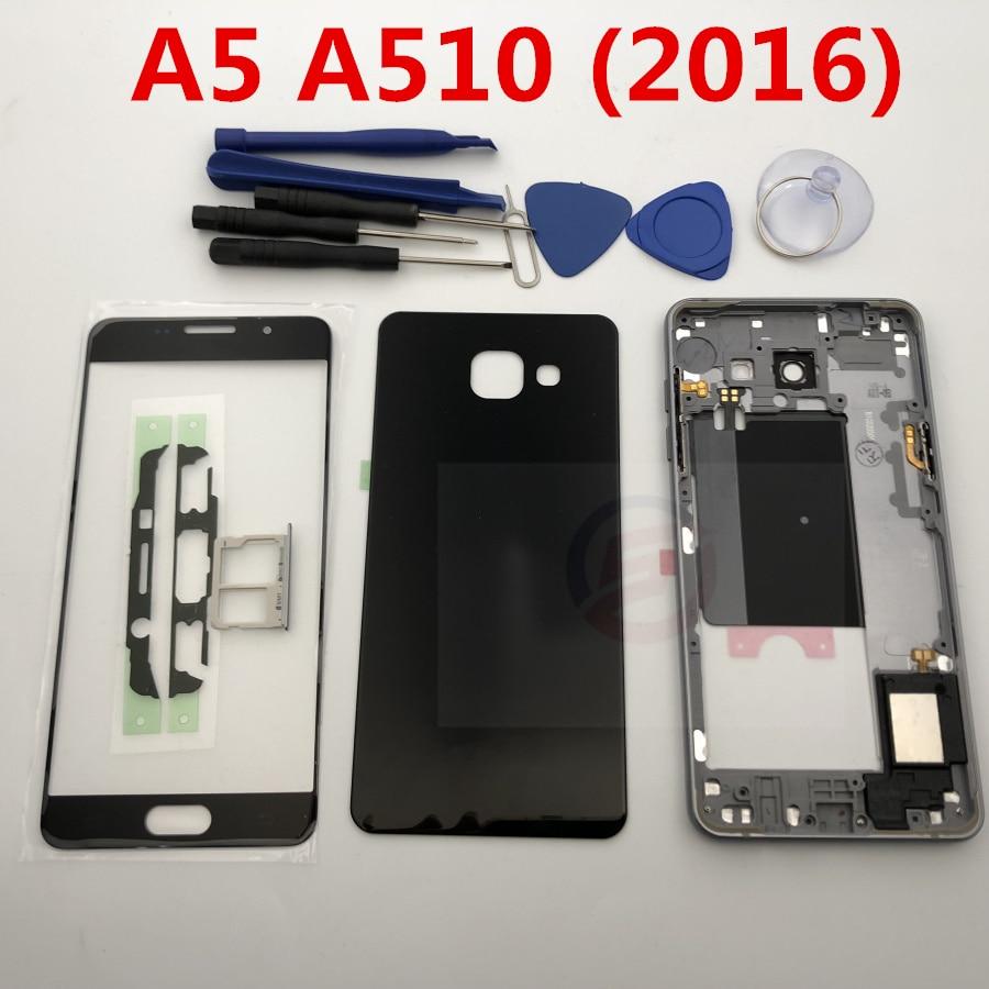 Полный корпус средняя рамка + чехол задняя крышка + передний экран стеклянный объектив для Samsung Galaxy A5 A510 A510F полные части (2016)