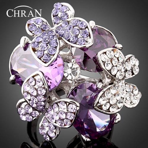 Anillos de mariposa de cristal Chapado en plata clásica, anillos de promesa de circonita cúbica púrpura a la moda para mujer