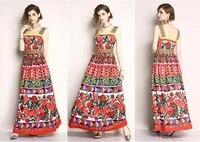womens elegant rose printed ballgown dress high waist single breasted ladies party vestidos princess dress
